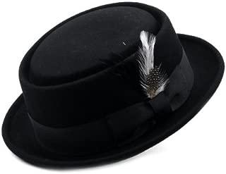 Mens Crushable Wool Felt Porkpie Hat w/Feather