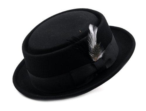 NYFASHION101 Mens Crushable Wool Felt Porkpie Hat w/Feather HE09 Bk-L/XL Black