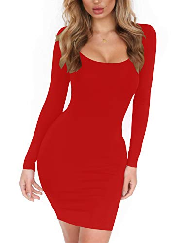 Haola Women's Scoop Neck Long Sleeve Midi Party Bodycon Dress Lady Strench Club Dress Red S