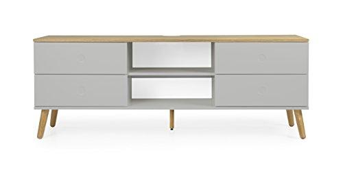 tenzo 1664–612 DOT Designer Banc TV 4 tiroirs, Gris/Chêne, 60 x 162 x 43 cm (HxLxP)
