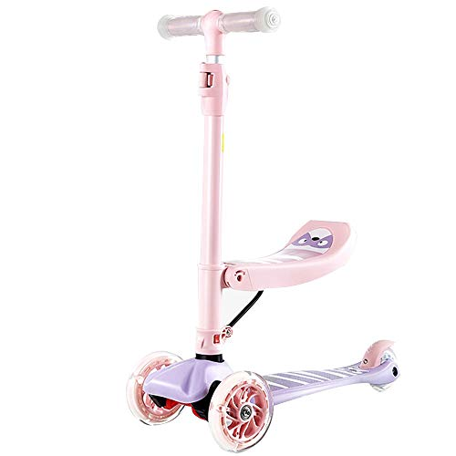 FOLDING 3-wheel scooter 2 en 1 Scooter para niños pequeños, Scooter para niños, Scooter para niños, Scooter de Rueda Flash de PU Super Ancha Ajustable Altura Para Niñas y Niños, adecuado para niños de
