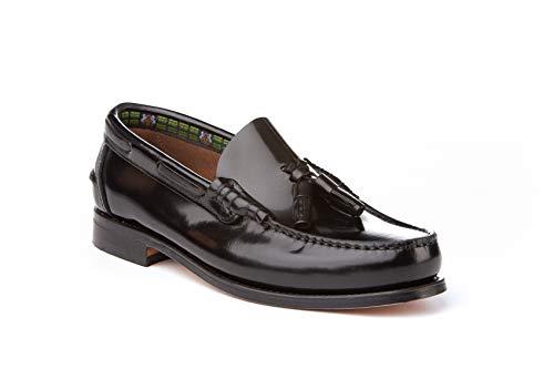 Mocasines con borlas para Hombre. Zapatos Castellanos Fabricados con Piel bovina. Disponibles Desde la Talla 40 hasta la Talla 45 - A&L Shoes Modelo 476 Color Negro.