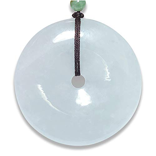 100% Natural A Grade Burmese Jadeite Chinese Certified Genuine Natural jadeite Lucky Circle/Donut/Coin Jade Pendant Necklace Amulet