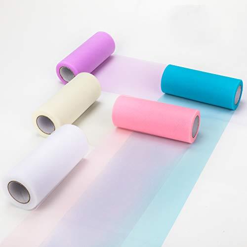 HOWAF 5 Rollos de Tul Tela de Tul Colores Decoración del Banquete de Boda, Bricolaje Artesanal, Azul Rosa Blanco Violeta Marfil, 15cm x 25yd Cada Uno