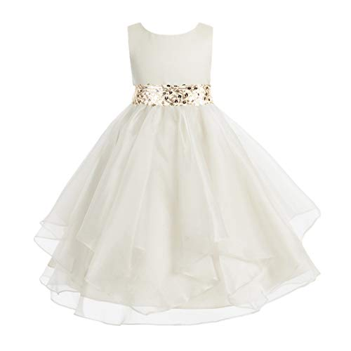 ekidsbridal Asymmetric Ruffled Organza Formal Flower Girl Dress Prom Night Dresses 012 2 Ivory