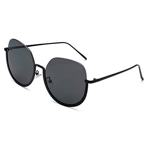 YOULIER Gafas de sol redondas de media montura de moda para mujer de gran tamaño personalidad marco retro tendencia UV400 1105-3