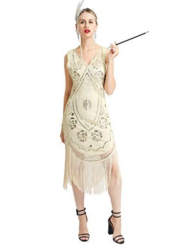 Unbekannt 1920er Jahre Flapperkleid Fransen Great Gatsby Cocktailkleid 5 Accessoires -  Beige -  Klein