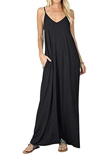 YMING Frauen Ärmelloses Kleid Maxikleid mit Taschen Strandkleid Schwarz M