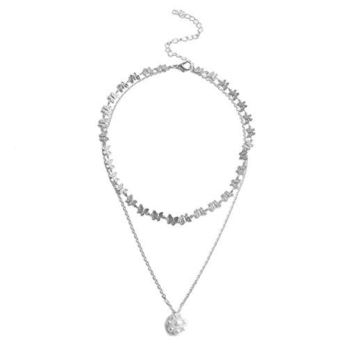 Yixikejiyouxian Collar, joyería Europea o Americana Patrón de Mariposa Colgante de Perlas Collar de Mujer Collar de Personalidad Simple - Plata