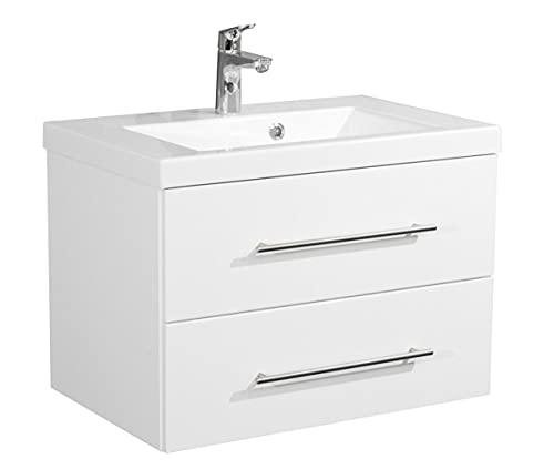EINFACH GUTE MÖBEL Kuboa II - Mobile da bagno di design, larghezza 70 cm, 2 cassetti + SoftClose | bianco lucido