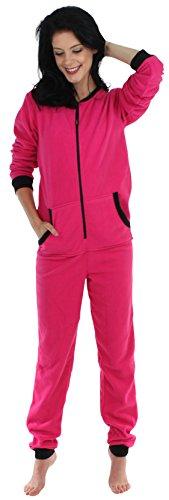 Sleepyheads Onesie, einteiliger Schlafanzug für Damen aus Fleece ohne Fuß, bunter Einteiler, Overall, Hell Rosa mis Schwarz (SH1018-4025B-EU-SML)