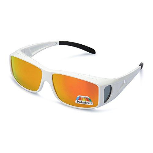 LVIOE Unisex Polarisiert Sonnenbrille Brille Überbrille für Brillenträger, Fit-over Polbrille für Herren und Damen 100% UVA UVB Schutz (Weiß/Orange)