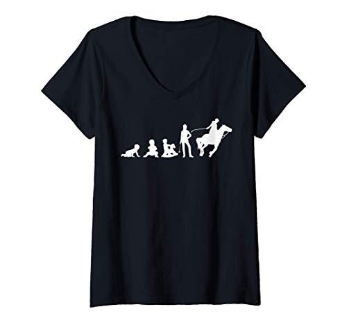 Mujer Caballos Evolución de una mujer jinete amante de los Camiseta Cuello V