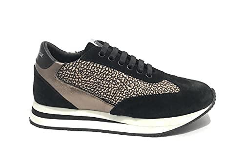 Borbonese Scarpe Donna Sneaker Running in Suede Nero/Tessuto OP Natural D22BO02 6DV913 38