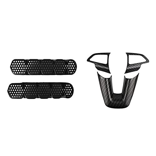 QINQIN 2 Pz Copertura del condizionatore d'aria dell'automobile & 3 Pz Interno Volante Protezione Trim Sticker