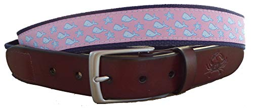 No27 Men's Whales and Starfish Nautical Leather Belt, Whales and Starfish Ribbon on Navy, Size 34 waist