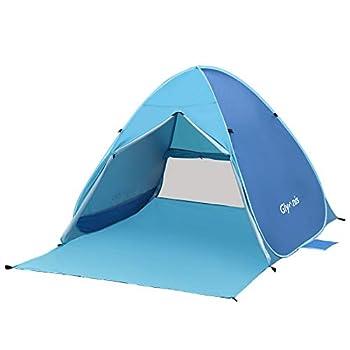 Glymnis Tente de Plage Pop-up Portable 2-3 Personnes Tente Anti UV UPF 50+ Ventilée avec Fermeture à Glissière de Porte pour Plage Comprend Un Sac de Transport