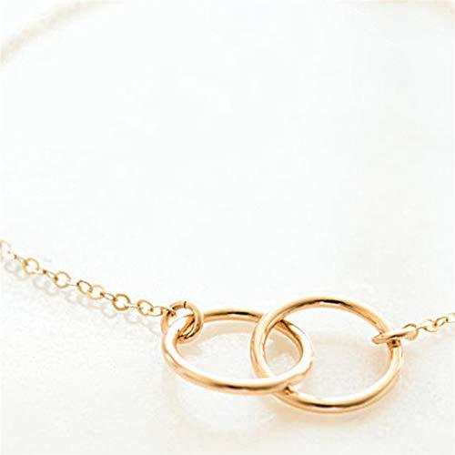 Pulseras de círculo redondo vintage para mujer geométricas de color plateado y oro cadena de eslabones, pulsera de joyería elegante (Color de metal: color dorado)