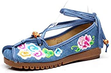 Fashion Spring Chinese Style Flats Embroidery Women Casual Cloth Shoes Size Ankle Strap Soft Sole Cozy Shoes