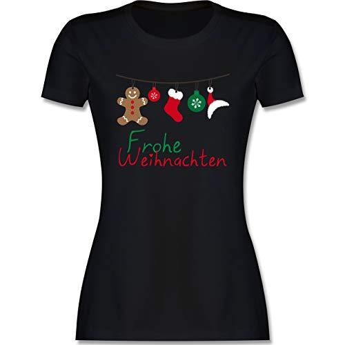 Weihnachten & Silvester Geschenke Party Deko - Frohe Weihnachten Girlande - XXL - Schwarz - weihnachtsschmuck weiß - L191 - Tailliertes Tshirt für Damen und Frauen T-Shirt