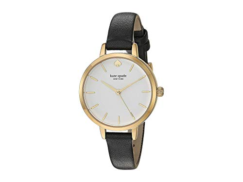Kate Spade New York Leather Metro Watch - KSW9005 Black One Size
