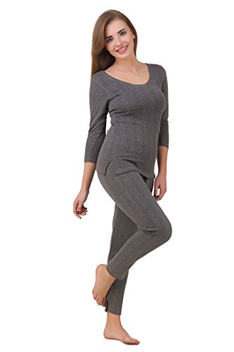 HAP Women's Poly Cotton Quilted Thermal Top, Trouser Set/Female Thermal/Ladies Thermal Set (Dark Grey) 3XL