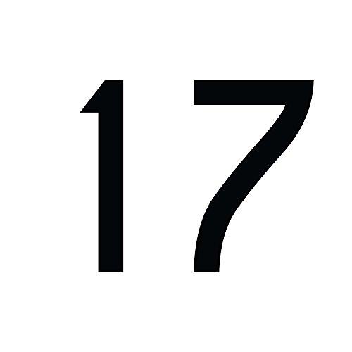 Zahlenaufkleber Nummer 17, schwarz, 5cm (50mm) hoch, Aufkleber mit Zahlen in vielen Farben + Höhen, wetterfest