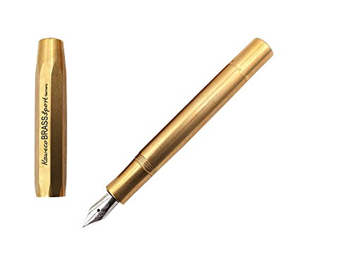 Kaweco Füllfederhalter Brass Sport I Premium Füllfederhalter Luxus für Tintenpatronen mit hochwertiger Stahlfeder I Kaweco Sport Füller aus Messing 13,5 cm Federbreite: BB (Extra Breit)