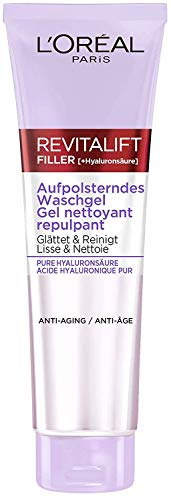 L'Oréal Paris Aufpolsterndes Hyaluron Waschgel, Anti Aging Reinigungsgel, Gesichtsreinigung mit purer Hyaluronsäure, Revitalift Filler, 150 ml