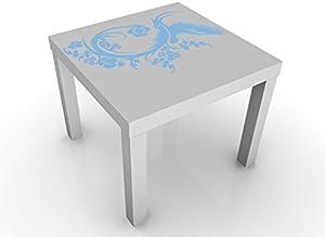 Apalis Mesa de diseño no.15 Magic Dove 55x55x45cm, Tischfarbe:Weiss;Tabella dei Colori:Acquamarina;Größe:55 x 55 x 45cm