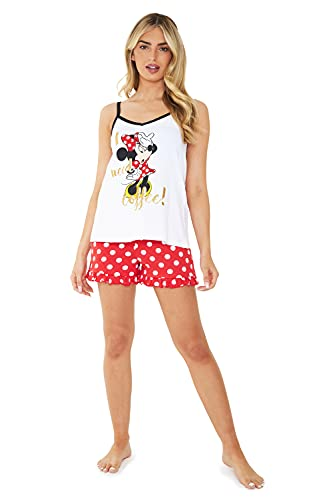 Disney Pigiama Donna, Pigiama Donna Estivo Corto in Cotone S-XL (Bianco/Rosso, M)
