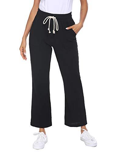 Parabler Damen Hose Lang Leinen aus Baumwollmischung Casual Strandhose Groß Seitetasche Loose Fit mit Band Einfarbig Sommerhose für Frau Schwarz XL