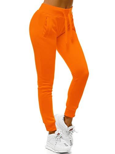 OZONEE Damen Jogginghose Hose Trainingshose Sporthose Freizeithose Motiv Damenhose Fitnesshose Sweathose Sweatpants Joggpants Fußballhose JS/CK01/32 ORANGE S