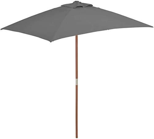 SHANCL Garden Parasol Proteger al Aire Libre al Aire Libre Parasol con Palo de Madera 150 * 200 cm Antracita jardín de césped al Aire Libre Paraguas Parasoles