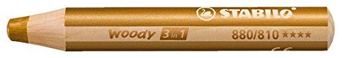 Buntstift, Wasserfarbe & Wachsmalkreide - STABILO woody 3 in 1 - Einzelstift - gold