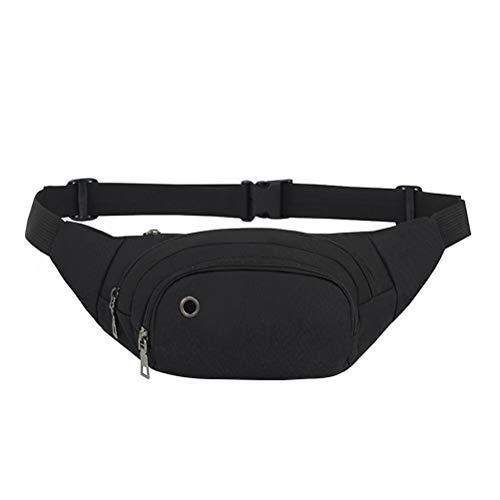 Pochete feminina masculina casual para esportes ao ar livre, pochete leve para corrida, caminhada, escalada, acampamento (preto)