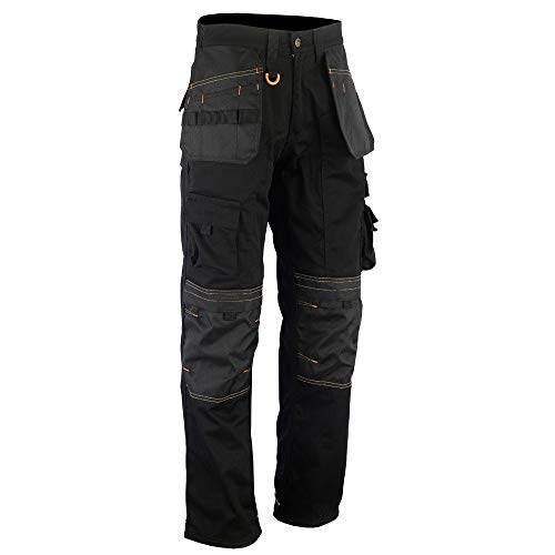 WrightFits Men Holster Work Trousers Black - Heavy Duty Safety Combat Cargo...