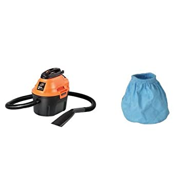 ArmorAll AA255 Utility Wet/Dry Vacuum, 2 HP, 2.5 gallon with 3 Cloth Filters