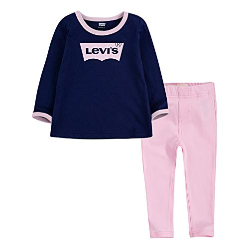 Levi's Baby Girls' Little Long Sleeve Top and Leggings 2-Piece Outfit Set, Medieval Blue, 6