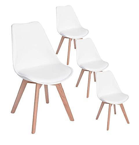 JIJIAN 2 sillas de comedor minimalistas tapizadas con patas de madera, disponible en negro, blanco y gris