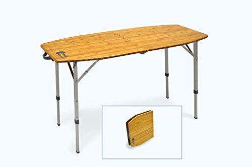 CON.VER Mesa de camping plegable Bamboo 150 con estante de bambú