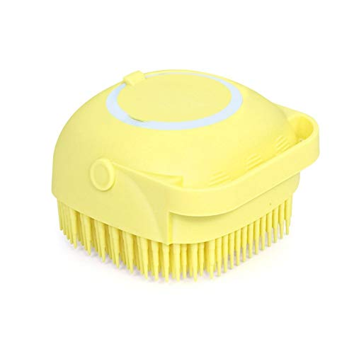 yimea Pet Grooming Brush Bath Brush- Pet Massage Brush Shampoo Dispenser-Soft Silicone Brush Rubber Bristle for Dogs and Cats Shower Grooming