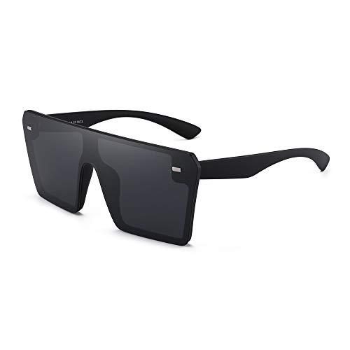 GLINDAR Oversized Shield Sonnenbrille für Damen Herren Square Rimless Fahrbrille Black Frame / Grey Lens