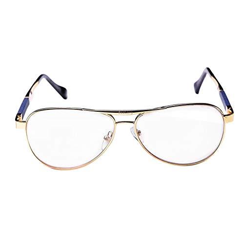 JKHOIUH Lentes Casuales cómodos de los Hombres, Gafas de Sol de conducción a Prueba de Viento, protección UV Antifatiga cómoda (Color : Golden/Clear)