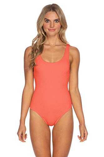 ISABELLA ROSE Women's Over The Shoulder One Piece Swimsuit Coral L
