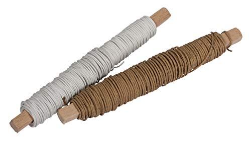 Rayher 24122000 Papierdraht, 0,55 mm Ø, Inhalt 2 Spulen, weiß und natur, auf Holzwickel, 2 x 40 g, je ca. 32 m, Basteldraht, Papier umwickelter Draht