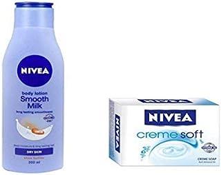NIVEA SMOOTH MILK BODY LOTION 200ML + NIVEA CREME SOFT CREME SOAP 75 GM