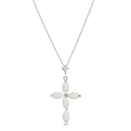 Galaxy Gold GG 14k 18' White Gold Genuine Diamond and Opal Cross Pendant Necklace