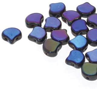 20 Grams GINKO Beads. Huge Assortment of Colors and FINISHES. 7.5mm Two Hole Beads, Holes Run Side to Side. Quality Czech Glass Beads (Jet Azuro)