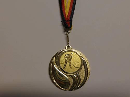 Fanshop Lünen Medaillen - aus Metall 45mm - mit einem Emblem Eishockey - inkl. Medaillen-Band - Farbe: Gold - mit Alu Emblem 25mm - (e105) -